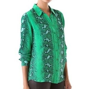 Equipment Tops - Equipment Brett Emerald Python Print Silk Blouse